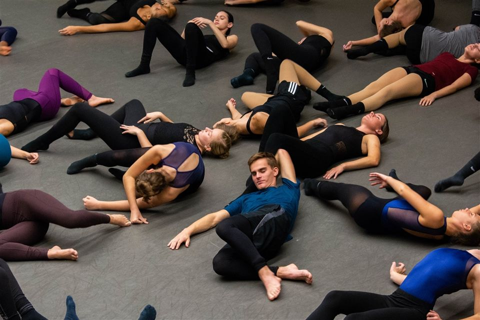 Dancers participating in a Gala workshop session on Saturday.