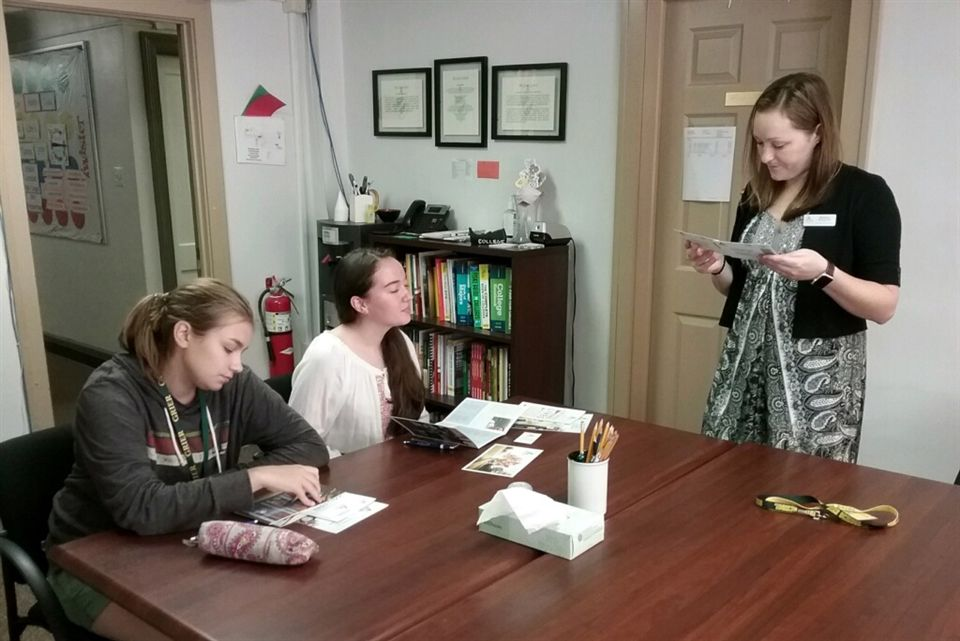 A representative from Juniata College in Huntingdon, Pennsylvania meets with Grier students interested in attending the institution.
