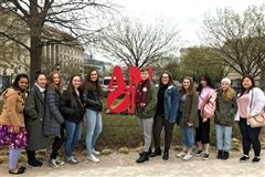 Intermediate and advanced students in Srta. Leen's Spanish classes joined her and a group of French students for a weekend day trip to Washington D.C. to see the National Gallery of Art.
