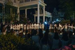 Gathered on the Colonnade for the Candlelight Ceremony.
