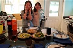 Ellen and Cindy making delcious food at Mrs. Silverman's house.
