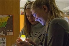 Alyssa and Marcella candle a duck egg to observe embryonic development.