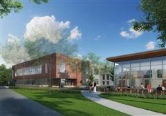 Rendering of the new Five Arts and Student Center