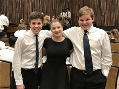 Lucas Pedroso '24, Kate Wingate '23 and Jacob Shepperson '23