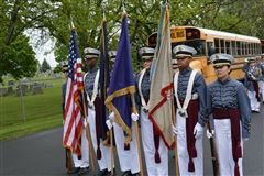 The Color Guard prepares to march in the Apple Blossom Parade.