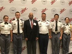 The Massanutten Military Academy JLAB Team with LTC Layman and Major General Arnold