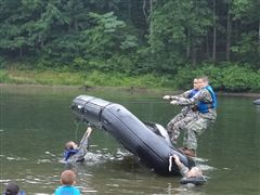 The cadets participate in capsize drills