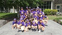 The cadets with President Lincoln's statue