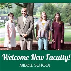 New Middle School faculty, from left to right: Ms. Jacqueline Swaidan, Mr. Bill Rothe, Ms. Sophie Kennedy and Ms. Rachel BySura