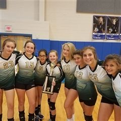 MS volleyball team celebrates second place at Smokey Mountain Tournament.