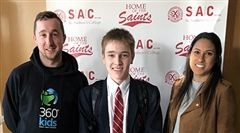 Willem Grier, centre, with Andrew, left, and Shanika from 360°Kids.