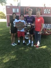 Mrs. D'Angelo & Headmaster Kevin McHenry with race winners
