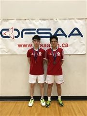 Nathaniel Chan and Wei Han Luo at the OFSAA Badminton Championships in May