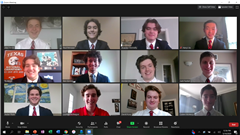 The 2020/21 Prefect gather on Zoom.