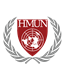 The Harvard Model United Nations logo is a crest with the letters 'HMUN' and a globe, surrounded by laurel leaves.