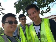 Volunteers Jeffery Chen, Matteo Fina, and Randy Lee