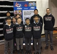 Middle School Robotics team, a.k.a, Autonomous Andreans, with Coach Stephen Holmes