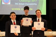 Liam Hadcock (centre) was the winner of the School's Geographic Challenge 2017. With runner-up, Mason Wright (right), and Jack Oomen (left), who placed third.