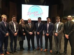 Jumpstart's Lori Gagnon, Regional Manager, and Landon French, President and CEO, were at SAC for today's SpringSmash kick off, pictured with (l-r) Will Sirman JP Martin, Michael Lakkotrypis, Kyle Chen, Luca Zadra, and Mr. Sean Ludwig.