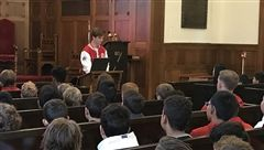 Luke St. John shares his insights with Middle School boys.