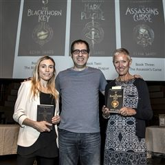 Author Kevin Sands shares his novels with Librarians Lori Lu (left) and Sue Hayter.