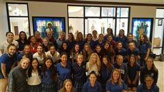 2017 Volleyball teams celebrate Mass