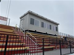 Cardinals' new pressbox surveys Fannon Field moments after installation Friday January 24th in Alexandria.