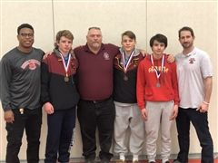 Post medal ceremony, (L to R) Coach Zimmerman, Jack Ambrey, Coach Redden, Finn Sofield, Kyle Miller, & Coach Spivey