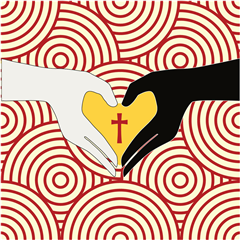 Against a backdrop of Bishop Ireton red and gold, the two hands, symbolizing all of God's people, meet in the center of the frame. The heart is punctuated with a cross, a reminder of the sacrificial love of Jesus and his call to love one another. Although the changes of this passing world--symbolized by the constant motion of the circles in the background--may create confusion and fear, God's love for us never changes, nor should our hearts give up the search for God and unity with others.