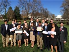 The 2015-16 Model UN Team -Best Small Delegation at the UVA Model UN Competition (November 2015)