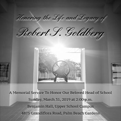Robert S  Goldberg Memorial Service Details Announced