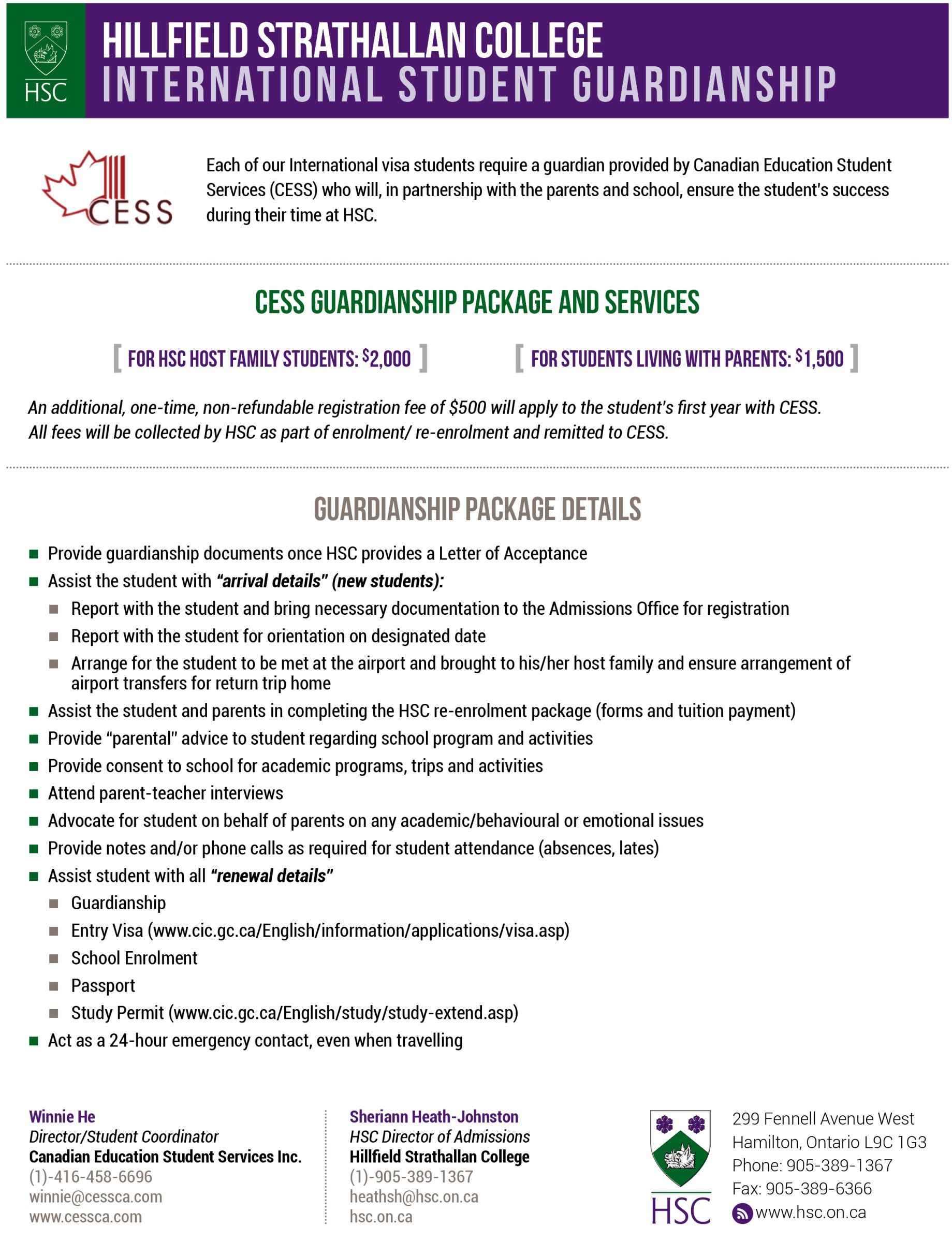 Details about the HSC International Student Guardianship Package