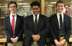 National Qualifiers - Sebastian Williams '18, John Kunzo '18 and Zach Holtz '18
