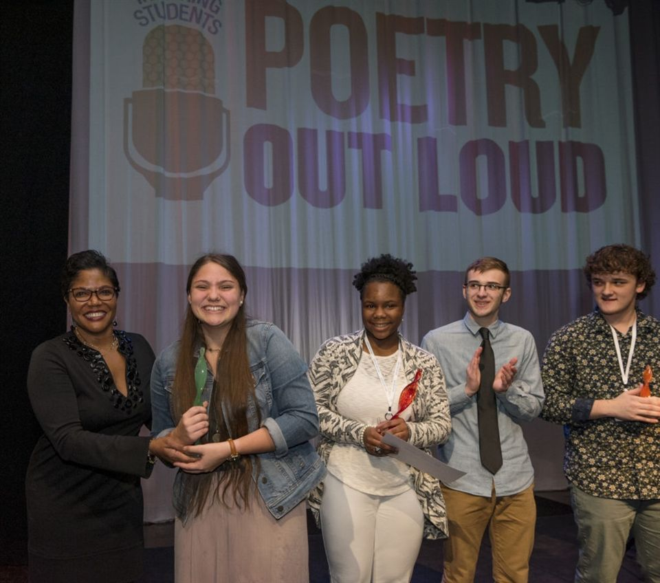 TN Arts Commission Chair Ritche Bowden, 2018 Tennessee Poetry Out Loud Champion Alyvia Crawley, first runner-up Kiya Brown, second runner-up Preston Cates, and third runner-up Grayson Brawner. Photo courtesy TN State Photography