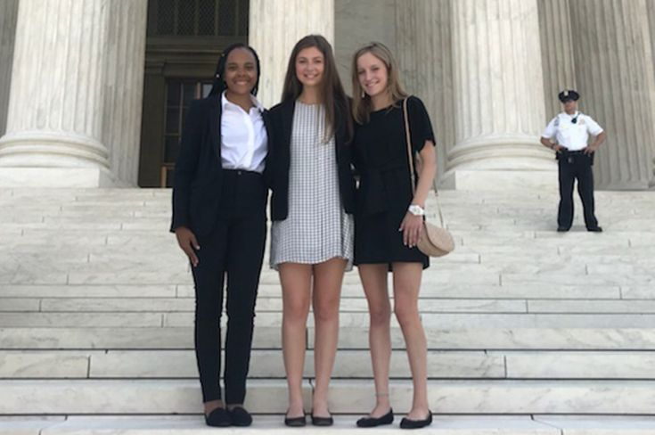 Caitlin Robinson, Madison Grinder, and Whitney Jordan in Washington, D.C. for their summer internships.