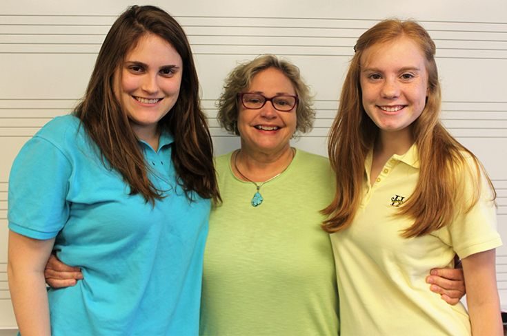Emma Nair, middle & upper school music teacher Leiza Collins, and Becket Monaghan