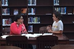 Hutchison College Counselor Michele Davis works with Porter Johnson '17 during the summer college application planning session.