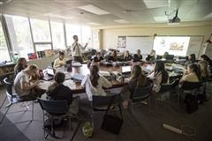 A typical class day at the Harkness Table in John Reynolds' classroom at Hutchison.