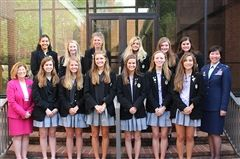 Back Row (L to R):  Monica Fleck, Caroline Pollard, Caroline Jones, Hannah Weatherly, Anna Murrey, Samantha Tancredi. Front Row (L to R): Head of School Dr. Annette Smith, Lillie Gillespie, Owen Hergenrader, Macy McCullough, Caroline Rogers, Larkin Schultz, Anna Apollonio, 2017 Distinguished Alumna Colonel Julie Rim Huygen '87. Not Pictured: Alice Curry Wilson