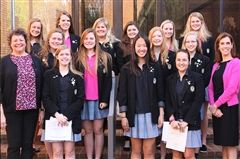 Back Row (L to R): Anne Grinder, Blair Threlkeld, Carson Weatherly, Olivia Posey, Ally Krasin, Meredith Magness. Middle Row (L to R): Katie McBride, Jordan Groover, Sarah Beth Bland, Charlotte Merchant. Front row (L to R): 2018 Distinguished Alumna Dr. Lisa D. Stanford, Sally Crow, Michelle Lee, Frazer Campbell, Head of School Dr. Kristen Ring.
