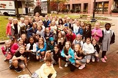 Third graders stopped for a group photo during their tour of downtown Memphis.