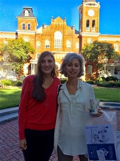 Martha and her mom, Laurie, on the Converse campus