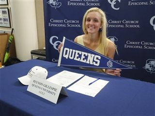 Peyton Gillespie proudly displays a Queens College flag!