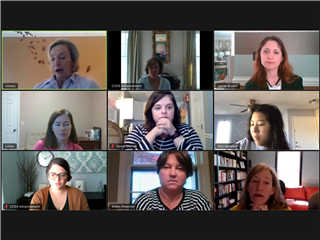 The Advancement Team in an April 1 Zoom Meeting, in desperate need of a good Zoom filter!