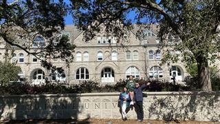 Cici and her parents on the campus of Tulane University.