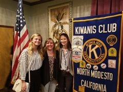 Sarah Shipherd, Mrs. Garrett and Madeline Coelho at the North Modesto Kiwanis Club meeting