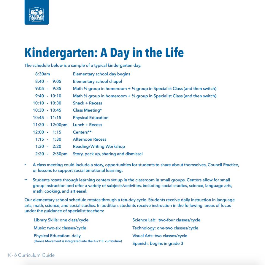 Sample Kindergarten Schedule