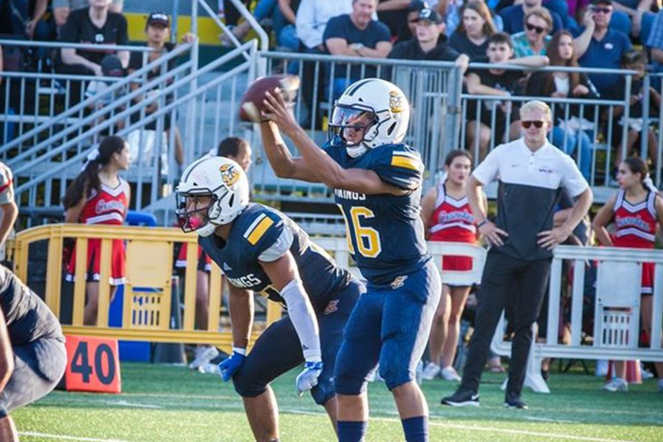 Freshman Isaiah Sepand (#16) played an excellent quarterback for the Vikings in the first game of his high school career (Picture - TepeSuz Photography)