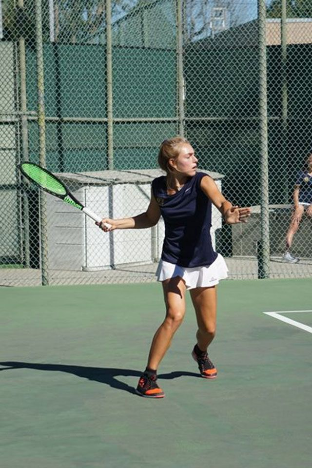 Junior Devyn Marinos led Vikings Tennis to two opening season wins this week