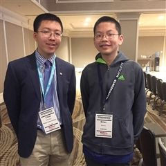 Sycamore alum and 2013 MATHCOUNTS National Champion Chad Qian (left) with Sycamore 8th grader Brian Liu